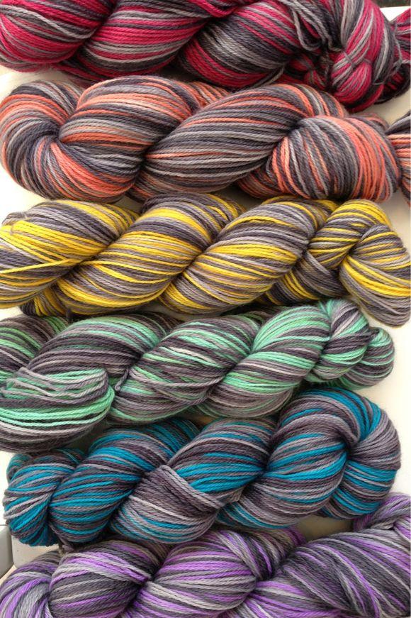 Poste Yarn, striping study in gray